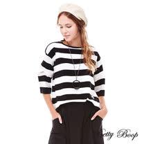 【Betty Boop】造型開洞袖條紋針織線衫(黑白條)