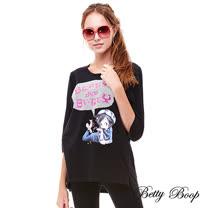 【Betty Boop】金粉對話框印圖七分袖彈性上衣(共兩色)
