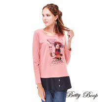 【Betty Boop】 貝蒂印圖圓領假兩件鈕釦上衣(共兩色)