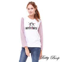 【Betty Boop】拼接條紋袖圓領彈性上衣(白色)