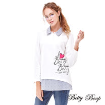 【Betty Boop】愛心字母拼接點點細條假兩件上衣(白色)