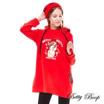 【Betty Boop】印圖剪裁鈕釦連帽長版上衣(共兩色)