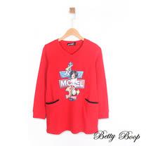 【Betty Boop】指標印圖口袋剪裁V領長版上衣(共兩色)