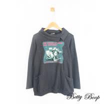 【Betty Boop】復古貝蒂貼圖翻領造型口袋上衣(麻灰色)