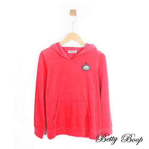 【Betty Boop】皇冠貼布全絨毛口袋連帽上衣(桃紅色)