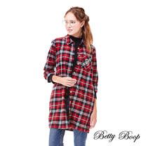 【Betty Boop】經典格紋長版毛料襯衫(共兩色)