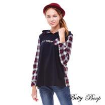 【Betty Boop】格紋拼接連帽口袋柔棉上衣(紅色)