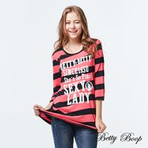 【Betty Boop】斑駁字母配色斜條紋彈性上衣(共兩色)