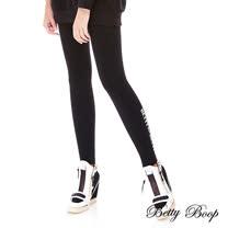【Betty Boop】拉鍊印圖鬆緊彈力內搭褲(黑色)