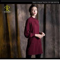 玄太-優雅半高領針織長板造型上衣(酒紅/褐)