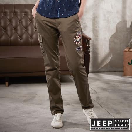 【JEEP】女裝 美式徽章工作長褲 (卡其色)