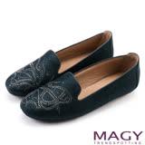 MAGY 復古風華 蝴蝶貼鑽樂福平底鞋-藍色
