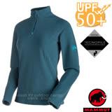 【瑞士 MAMMUT 長毛象】女新款 Yampa ML Half Zip Pull 彈性半開襟立領上衣.內刷毛中層衣/抗紫外線UPF 50+/24920-5325 獵戶藍