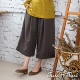 【Tiara Tiara】激安 反摺褲口七分寬褲(咖啡)