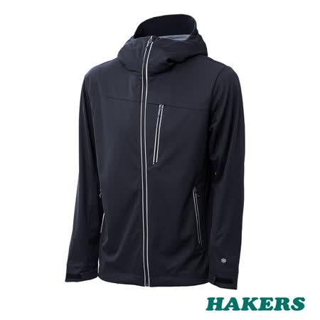 【HAKERS 哈克士】男款 防潑軟殼外套(黑色)