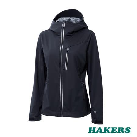 【HAKERS 哈克士】女款 防潑軟殼外套(黑色)