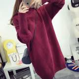 【Stoney.ax】韓版立領寬鬆針織長版毛衣-酒紅