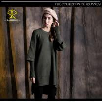 玄太-舒適假兩件造型針織長版毛衣(綠)