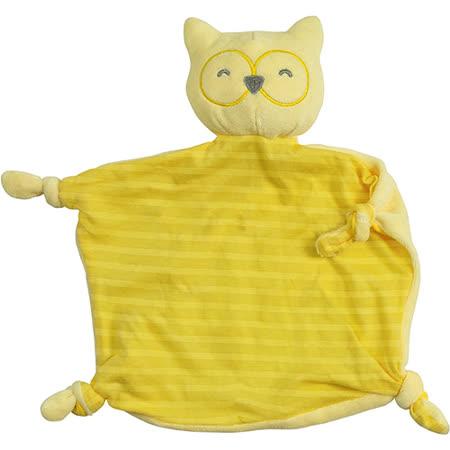 美國 green sprouts 寶寶有機棉玩偶安撫巾_條紋黃貓頭鷹_GS201040-4