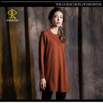 玄太-簡約圓領造型織紋針織長版毛衣(駝)