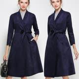 【麗質達人中大碼】6629藍色絨皮長版風衣外套(L-4XL)