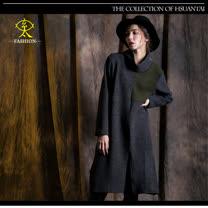 玄太-摩登高領寬鬆造型長版上衣(灰)