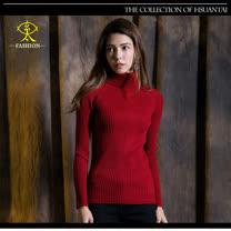 玄太-舒適高領特色織紋針織毛衣(紅/黑)