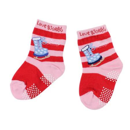【愛的世界】LOVEWORLD 溜冰鞋圖案止滑透氣襪(粉紅色)-台灣製-