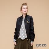gozo嗡嗡嗡個性金屬拉鍊飛行夾克(經典黑)