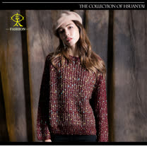 玄太-多彩配色針織毛衣(紅)