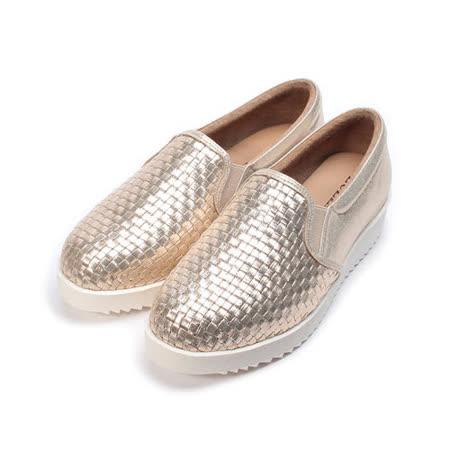 (女) LUZZI 編織樂福鞋 金 女鞋 鞋全家福