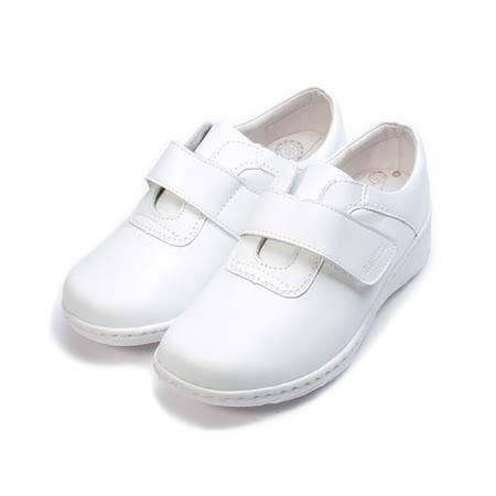 (女) LUZZI 真皮黏帶護士鞋 白 女鞋 鞋全家福