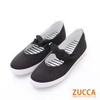 ZUCCA【z6211bk】日系浪漫綁帶朵結平底鞋-黑色