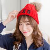 Wonderland 針織保暖造型帽(紅)
