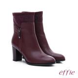 effie 保暖靴 牛皮拼接絨布閃亮水鑽拉鍊中筒靴(酒紅)