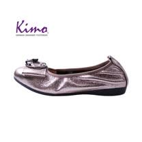 【Kimo 德國手工氣墊鞋】氣質優雅裝飾金屬感柔軟牛皮舒適娃娃鞋(氣質灰D0417WF018012)