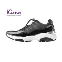 【Kimo 德國手工氣墊鞋】雙質感漆皮運動風設計舒適懶人鞋帶平底休閒鞋(暗夜黑D5117WF006023)