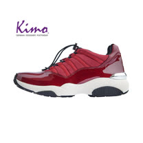 【Kimo 德國手工氣墊鞋】雙質感漆皮運動風設計舒適懶人鞋帶平底休閒鞋(暗酒紅D5117WF006027)