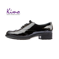【Kimo 德國手工氣墊鞋】漆皮綁帶流線簡約設計牛津低跟休閒鞋(暗夜黑D5117WF012023)