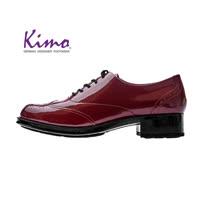 【Kimo 德國手工氣墊鞋】漆皮綁帶流線簡約設計牛津低跟休閒鞋(暗酒紅D5117WF012027)