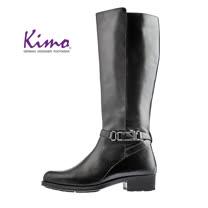 【Kimo 德國手工氣墊鞋】率性繫帶簡約設計低跟舒適長靴(暗夜黑D5117WF012043)