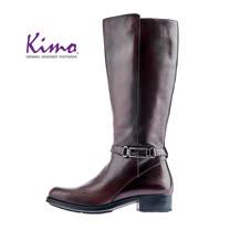 【Kimo 德國手工氣墊鞋】率性繫帶簡約設計低跟舒適長靴(風格棕D5117WF012048)