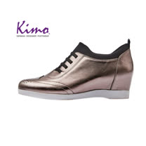 【Kimo 德國手工氣墊鞋】鞋帶設計舒適牛皮楔型內增高休閒鞋(金屬灰D5117WF014032)