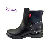 【Kimo 德國手工氣墊鞋】率性雙質感設計牛皮舒適休閒平底中筒靴(暗夜黑D5117WF015023)