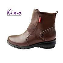 【Kimo 德國手工氣墊鞋】率性雙質感設計牛皮舒適休閒平底中筒靴(風格棕D5117WF015028)