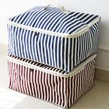 【收納職人】衣物棉被大容量防水防塵袋收納袋收納箱50L(紅白條)