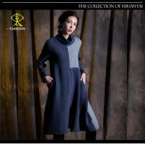 玄太-摩登高領寬鬆造型長版上衣(藍)