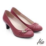 A.S.O 全牛皮抓皺鑽釦跟鞋(桃粉紅)