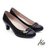 A.S.O 全牛皮抓皺鑽釦跟鞋(黑)