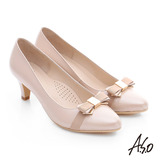 A.S.O 優雅美型 金屬織帶蝴蝶結窩心靜音高跟鞋(卡其)